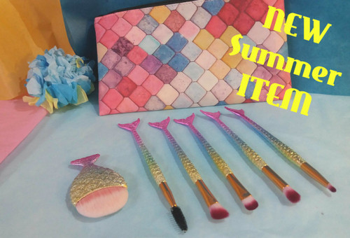 16pc Deluxe Natural & Organic MERMAID Makeup Kit for Tween & Young Girls w/ Brushes and Bag