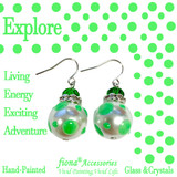 Neon Green Polka Dots Glass and Crystals Beaded Drop Earrings(E-374E) - Carded - Explore, Living, Energy, Exciting, Adventure