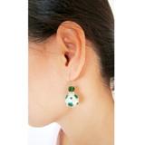 St Patrick's Day Earrings - Green Polka Dots Earrings - Beaded Drop Earrings - Fiona E374F