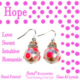 Pink Polka Dots Glass and Crystals Beaded Drop Earrings(E-374H) - Carded -Hope, Love, Sweet, Intuitive, Romantic