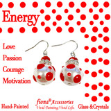 Red Polka Dots Glass and Crystals Beaded Drop Earrings(E-374I) - Carded - Energy, Love, Passion, Courage, Motivation