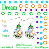 Dream Polka Dots Glass and Crystals Beaded Drop Earrings(E-375B) - Carded - Joy, Pure, Calm, Peace