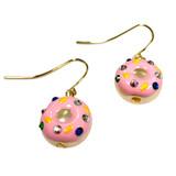 Strawberry Donut Swarovski Gold Crystal Drop Earrings | Vivid Painting