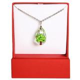 Green Tree Swarovski Crystal Necklace   Vivid Painting