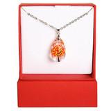 Swarovski Crystal Orange Fall Leaf Tree Necklace with Gift Box - Autumn Fall Jewelry for Women - Fiona - NE3154C