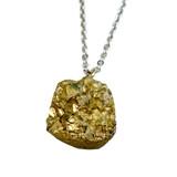 "Free Shape Druzy Pendant Necklace (NE-3188B) - Matte Gold - 18"" Stainless Steel Chain"