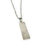 "Rectangle Druzy Pendant Necklace (NE-3194B) - Grey - 30"" Necklace Chain"