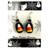 Painted Halloween Candy Corn Glass Bead Drop Dangle Earrings Carded E-387A