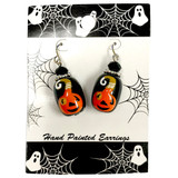 Painted Halloween Smile Pumpkin Glass Bead Drop Dangle Earrings Carded E-387B