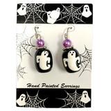 Painted Halloween Ghost Glass Bead Drop Dangle Earrings Carded E-387C