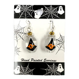 Painted Halloween Black Witch Hat Glass Bead Drop Dangle Earrings Carded E-387D