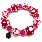 Spring Fuchsia Hot Pink Polka Dots  Bracelet - Spring Jewelry for Women - Handmade Glass Beaded Bracelet  for Girlfriend  - Fiona -  PD07