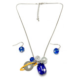 Saturn Charm Necklace with Blue Earrings -  Galaxy Space Cosmo Universe  Astronomy Necklace - Handmade Glass Crystal Charm Necklace with Earrings  for Women - Fiona -  NE3058A