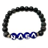 NASA Lava Stone Bracelet - Science Galaxy Astronomy Jewelry Gift - Handmade Lava Glass Beaded Bracelet  for Men and Women - Fiona -  BR2987