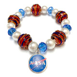 NASA Logo Charm Patriotic Bracelet - Science Galaxy Astronomy Jewelry Gift for Women - Fiona -  050513_10_NASA