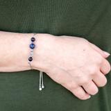 Earth Moon Galaxy Gemstone Pull Chain Bolo Bracelet - Galaxy Space Astronomy Jewelry - Handmade Lazurite Moonlight Crystal Bracelet  for Women - Fiona -  BR3013