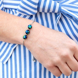 Blue Green Aurora Galaxy Pull Chain Bolo Bracelet - Galaxy Space Astronomy Jewelry - Handmade Murano Glass Beads Bracelet  for Women - Fiona -  BR3015B