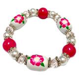 Iowa State Flower Prairie Rose Bracelet - Flower Girl Bracelet - Iowa Jewelry for Women - Handmade Glass Beaded Bracelet - Fiona -  BR3109B