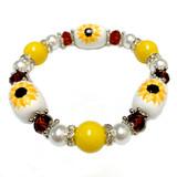 Kansas State Flower Sunflower Bracelet - Flower Girl Bracelet - Kansas Jewelry for Women - Handmade Glass Beaded Bracelet - Fiona -  BR3109C