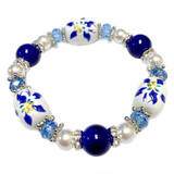 Colorado State Flower Columbine Bracelet - Flower Girl Bracelet - Colorado Jewelry for Women - Handmade Glass Beaded Bracelet - Fiona -  BR3109E