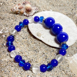 Navy Blue Anchor Glass Bead Bracelet - Nautical Beach Glass Crystal Jewelry  - Handmade Beaded Bracelets for  Women - Fiona - BR2824A