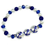 Blue Anchor Glass Bead Bracelet - Nautical Beach Glass Crystal Jewelry  - Handmade Beaded Bracelets for  Women - Fiona - BR2824B