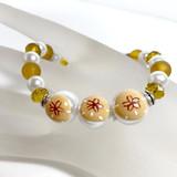 Sand Dollar Glass Bead Bracelet - Nautical Beach Ocean Jewelry  - Handmade Beaded Bracelets for  Women - Fiona - BR2824D