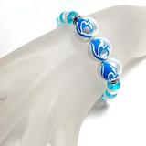 Ocean Wave Glass Bead Bracelet - Surfer Beach Ocean Jewelry  - Handmade Beaded Bracelets for  Women - Fiona - BR2824F