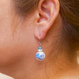 Ocean Wave Glass Drop Earrings - Handmade Nautical Beach Ocean Glass Crystal Jewelry for Women - Fiona - E308E