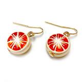 Orange Fruit Swarovski Gold Crystal Drop Earrings | Vivid Painting