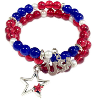 Painted Red Star, USA Charm Glass Beaded Coil Wire Bracelet (BR-2898AD)