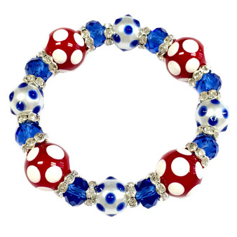 Painted Red/White/Blue Polka Dots Glass & Crystal Beaded Stretch Bracelet (BR-2925D)