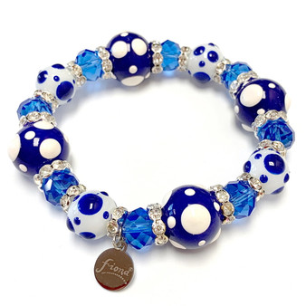 Painted Navy Blue Polka Dots Glass & Crystal Beaded Stretch Bracelet (PD-04)