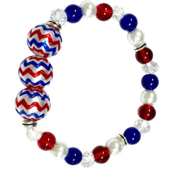 Fine Painted Red/White/Blue Chevron Pattern Glass & Crystal Beaded Stretch Bracelet (BR-2829D)