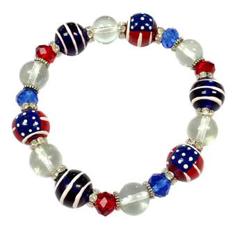 Painted USA Flag Dainty Glass & Crystal Beaded Stretch Bracelet (BR-2750A)