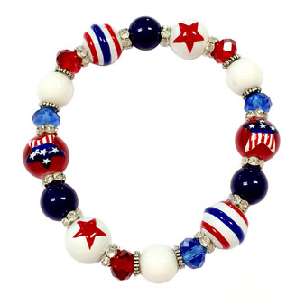 Painted USA Star Flag Dainty Glass & Crystal Beaded Stretch Bracelet (BR-2750B)