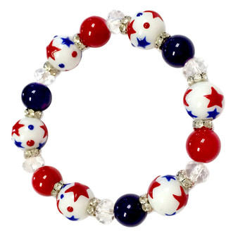 Painted Red/White/Blue Stars Dainty Glass & Crystal Beaded Stretch Bracelet (BR-2750C)