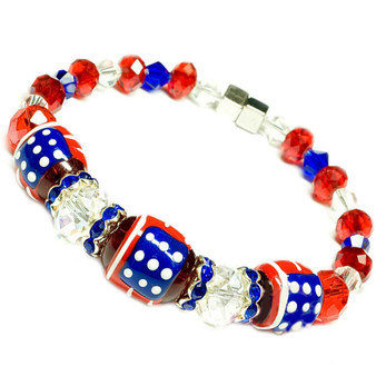 Painted USA Flag  Glass & Crystal Beaded Bracelet with Magnetic Clasps (BR-1337)