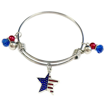 Painted Metallic USA Star Flag Charm Adjustable Bangle (BR-2533U)