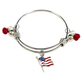 Painted USA Flag Charm Adjustable Bangle (BR-2533V)