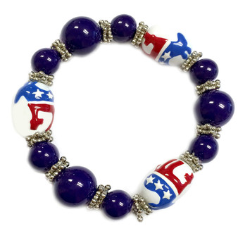 Painted Democratic Party Blue Glass Beaded Stretch Bracelet (BR-2059)
