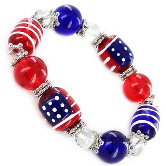 Painted USA Flag Glass Beaded Stretch Bracelet (IUP08-2)
