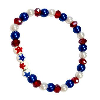 Painted USA  Stars Dainty Glass & Crystals Beaded Stretch Bracelet (BR-2730B)