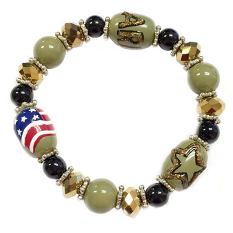 Painted Army, Star, USA Flag Glass Beaded Stretch Bracelet (BR-2534A)