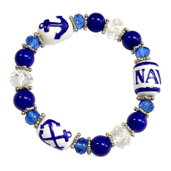 Painted Navy, Anchors Glass Beaded Stretch Bracelet (BR-2534D)