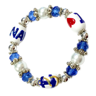 Painted I LOVE NAVY, Anchor with Rope Glass Beaded Stretch Bracelet (BR-2534F)