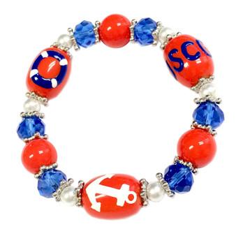 Painted US Coast Guard (USCG) Glass Beaded Stretch Bracelet (BR-2534L)