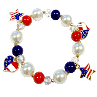 Painted USA Flag Charms Glass Beaded Stretch Bracelet (BR-2783)