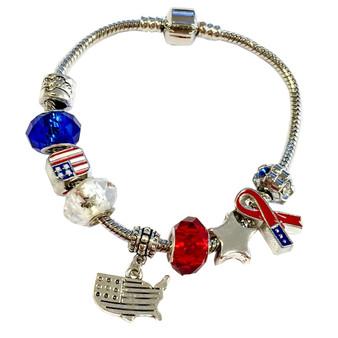 USA Red/White/Blue Charm Beads Chain Bracelet (BHB-03)