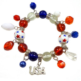 Painted USA Stars Charms Glass Beaded Stretch Bracelet (BR-2258C)